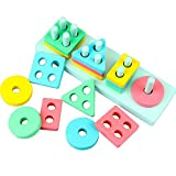 Dreampark Wooden Educational Preschool Toys, Toddler Toys Shape Color Recognition Geometric Board Block Stack Puzzle Toys for Kids Birthday Gifts
