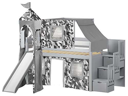 JACKPOT! Castle Low Loft Stairway Bed with Slide Gray Camo Tent and Tower, Loft Bed, Twin, Gray
