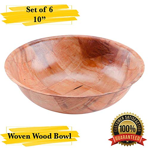 MM Foodservice Woven Wood Salad Bowl, Woven Wood Snack Bowls, Set of 6 (10