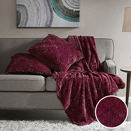 Comfort Spaces - Super Soft and Warm Faux Fur Throw Blanket with 2 Square Pillow Covers - 50x60 inches - Burgundy