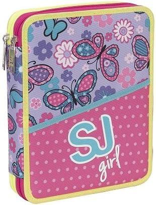 Seven SJ Girl - Estuche de 2 cremalleras y 2 pisos, completo, para niña, color rosa y morado: Amazon.es: Oficina y papelería