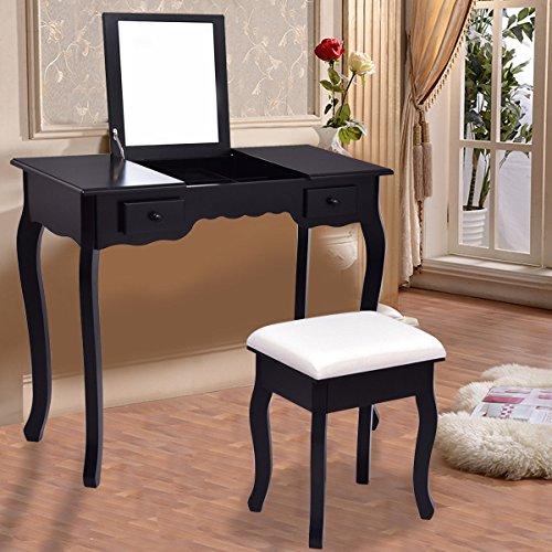 Giantex Vanity Set Dressing Table with Flip Top Mirror Cushioned Bench Bedroom Furniture Table Desk Set (Black)