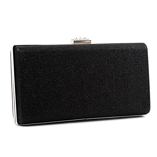 Sparkle Black Clasp Hard Bag Diamante Party Aossta Clutch Case Womens Glitter 5axyBpqv