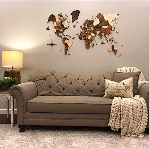 Amazon Enjoy The Wood World Map 3D Handcrafted Wall Decor