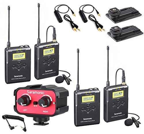 Saramonic Dual Wireless UHF Lavalier Microphone Bundle with 2 Transmitters, 2 Receivers and Audio Mixer for DSLR Cameras (330' Range)