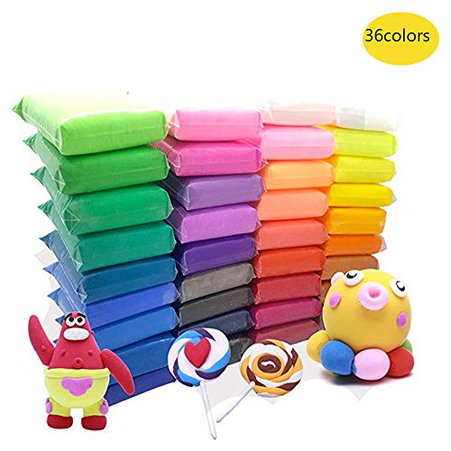 Colorful Magic - Szsrcywd 36 PCS Colorful Kids Modeling Soft Clay Air Dry Clay Studio Toy 36 Bright Color No-Toxic Modeling Clay Creative DIY Crafts