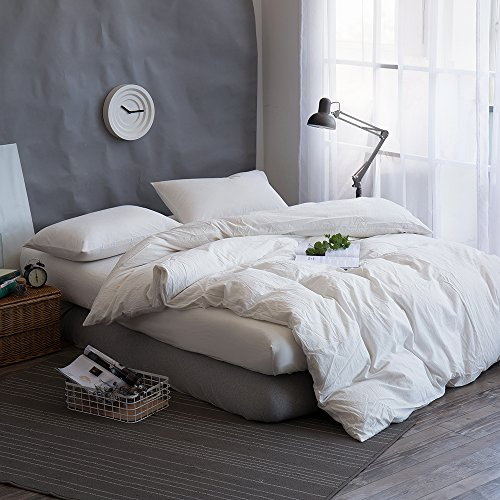 FACE TWO FACE 3-piece Duvet Cover Set,100% Washed Cotton Duvet Cover,Ultra Soft Easy Care,Simple Style Bedding Set (QUEEN, White)
