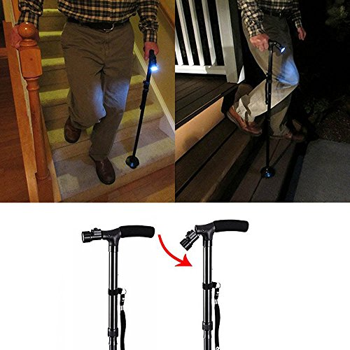 New LED Folding Cane Small Base Bariatric 500lbs,Walking Aid Medical Mobility Adjustable by Januone