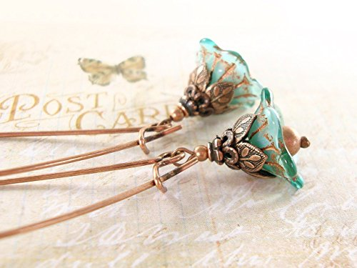 Nature Inspired Wire (Turquoise Dainty Flower Dangle Earrings with Long Kidney Ear Wires and Antiqued)