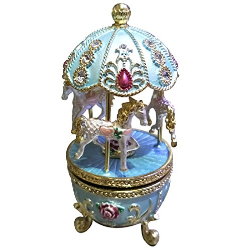 Faberge Egg with Horse Carousel Trinket Box Egg Carving Music Box Egg Musica Boxes Decoration Birthday Gift Girls Gift (Blue)