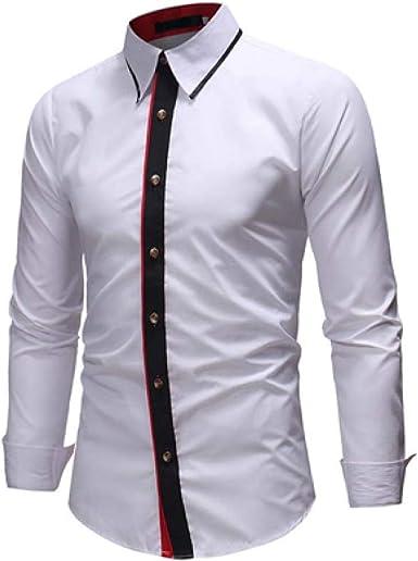Loeay Camisa Casual Hombres Diseño de Solapa Costura Manga ...