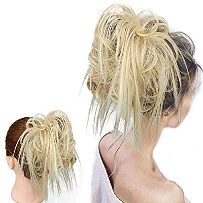 Tousled Updo Messy Bun Hair Tousled Updo Ponytail Hair Hairpiece With Elastic Rubber Band Updo Extensions Elastic Rubber Band Hairpiece Synthetic Bun Messy Bun Hair Piece Elastic Scrunchie Chignon Ins ...