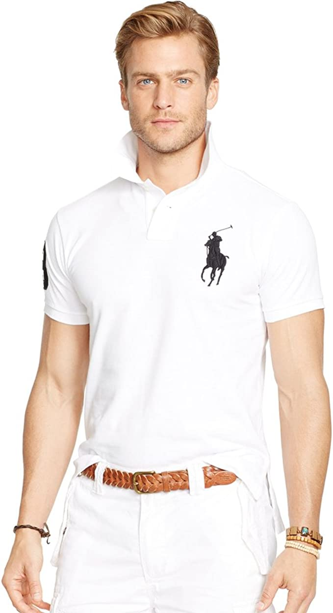 Ralph Lauren Polo para Hombre Big Pony Slim fit (M, Blanco ...