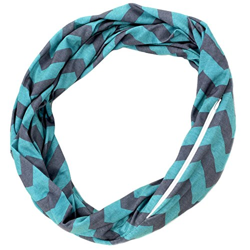 Womens Grey and Turquoise Chevron Print Pattern Infinity Scarf Wrap with Zipper Pocket, Best Travel Infinity Scarves for Women, Girls, Ladies (Crochet Pattern For Infinity Scarf With Buttons)
