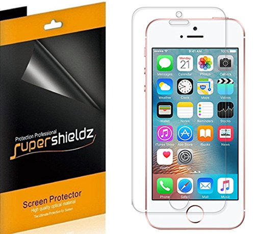 [6-Pack] iPhone SE Screen Protector ,Supershieldz- Anti-Bubble High Definition Clear Shield for iPhone SE/5S/5C/5 -Lifetime Replacements Warranty - Retail Packaging
