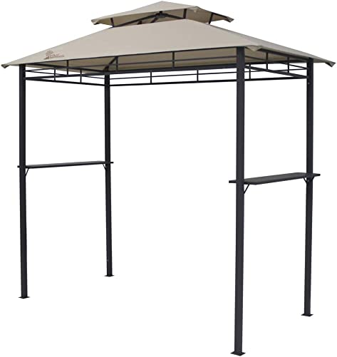 Palm Springs Deluxe 8FT Double-Tier Barbecue Canopy/BBQ Grill Tent Beige