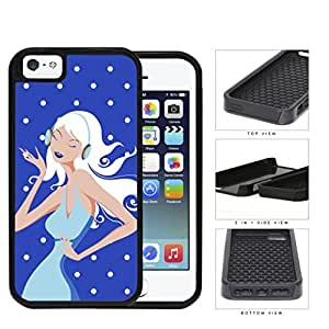 Blue Fashion Polka Dots Girl 2-Piece Dual Layer High Impact Rubber Silicone Cell Phone Case Apple iPhone 5 5s