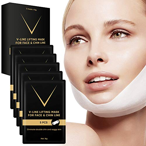5pcs V Line Neck Slimming Face Masks Patch Collagen Shaper Double Chin Reducer Shaping Strap Sheet Lifting Jawline Anti-Aging Tape for Contouring and Firming