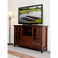 Stratford Auburn Brown TV Stand. This TV Stand For Flat Screens Is A Solid Piece Of Modern Living Room Furniture. Make This Entertainment Center The Central Media Hub For All Of Your Entertainment Needs.