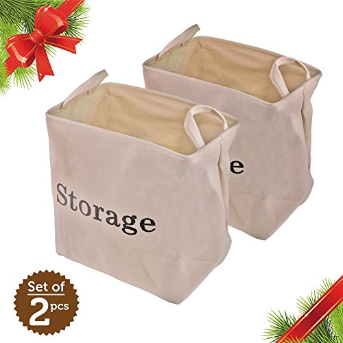 Christmas Gift Eco Storage Basket 2pcs 13.8 x 10.2 x 14.6 Inches Storing Bin with Sturdy Steel Lining Support Light Soft Premium Linen Fabric and EVA Efficient Storage for Clothes Toys Towel Book Food