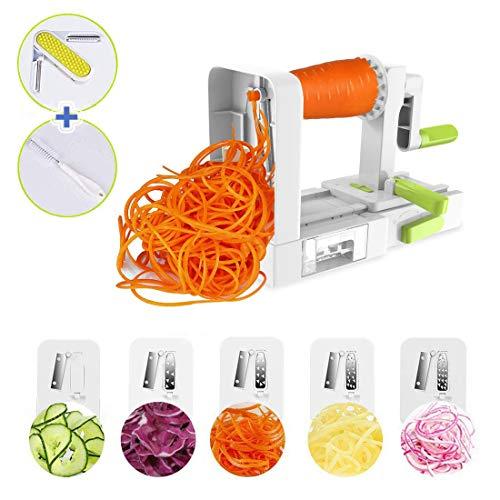 Spiralizer Vegetable Slicer, Domserv 5 Blades Vegetable Noodle Maker, Foldable Spiral Slicer for Zucchini, Veggie Pasta Spaghetti Maker (with a Peeler and Cleaning Brush) 2018 New Model