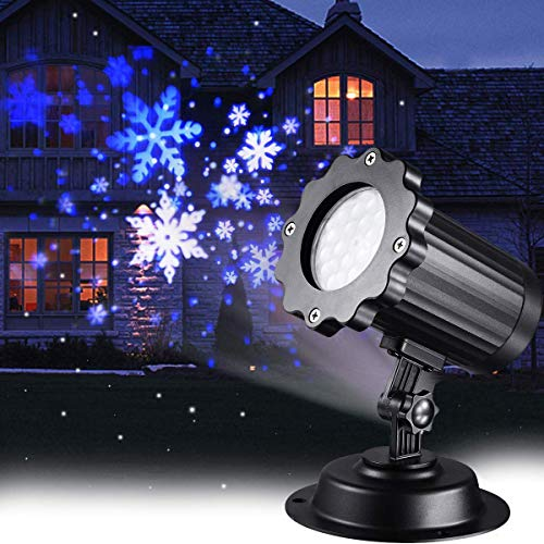 Christmas Projector Lights LED White Blue Rotating Snowflake Snowstorm Light Projector with Snowfall for Halloween Birthday Wedding Theme Party Garden Home Winter Outdoor Indoor Decor (Renewed) (Christmas White Blue Theme And)