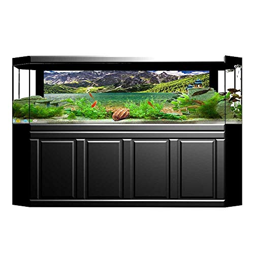 JiahongPan Fish Tank Background in The Middle of The Tatra Mountains Poland and at Sunrise PVC Adhesive Decor Paper Sticker L29.5 x H11.8 ()