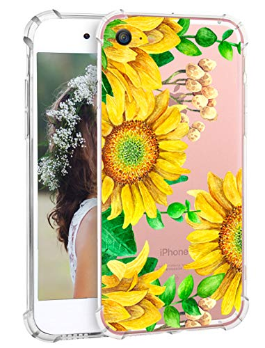 iPhone 7 Case Sunflowers iPhone 8 Floral Case, Hepix Yellow Flowers Printed Clear Soft Flexible TPU Protective iPhone Cover Case with Fours Bumpers Shock Absorption for iPhone 7 iPhone 8