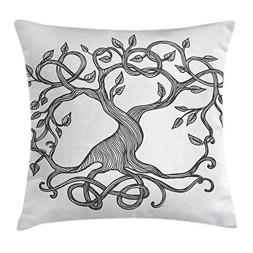 Uwwrticm Celtic Throw Pillow Cushion Cover, Figure of A Single Celtic Tree of Life with Swirly Long Branches and Roots, Decorative Square Accent Pillow Case, 18 X 18 Inches, Charcoal Grey White