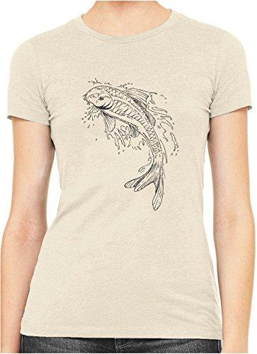Japanese Pond Koi Drawing Womens Hand Printed Slim Cotton T-Shirt, Soft Cream, (Drawing Hands T-shirt)