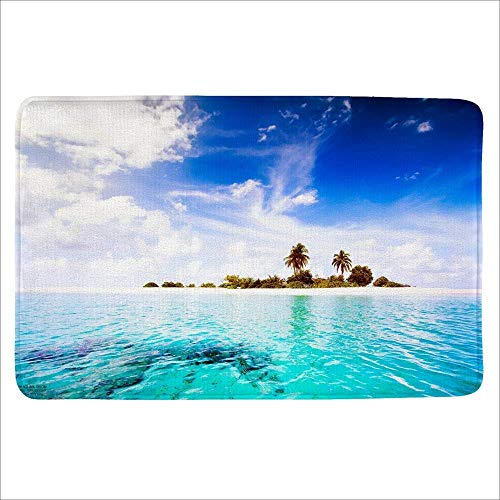 ZOZGETU Doormat Bath Rug, Non Slip Mat, Bathmat, Doormat, Thick Synthetic Sponge and Super Soft Microfiber Flannel Fabric,Absorbent, Beach Design Theme -