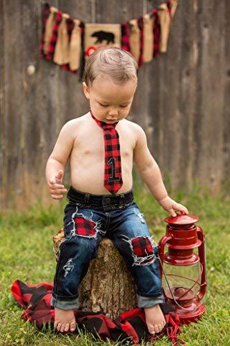 1st Birthday Boy Lumberjack Buffalo Plaid Neck Tie Outfit Cake Smash Baby Necktie Red Black