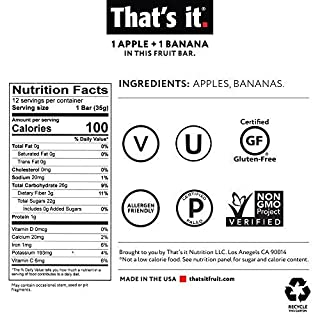 That's it Apple + Banana 100% Natural Real Fruit Bar, Best High Fiber Vegan, Gluten Free Healthy Snack, Paleo for Children & Adults, Non GMO Sugar-Free, No Preservatives Energy Food (12 Pack)