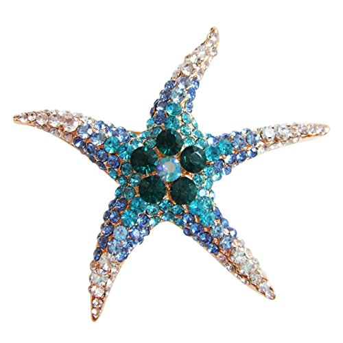 Navachi 18k Gold Plated Blue Crystal Starfish Brooch Pin (Crystal Starfish Brooch)