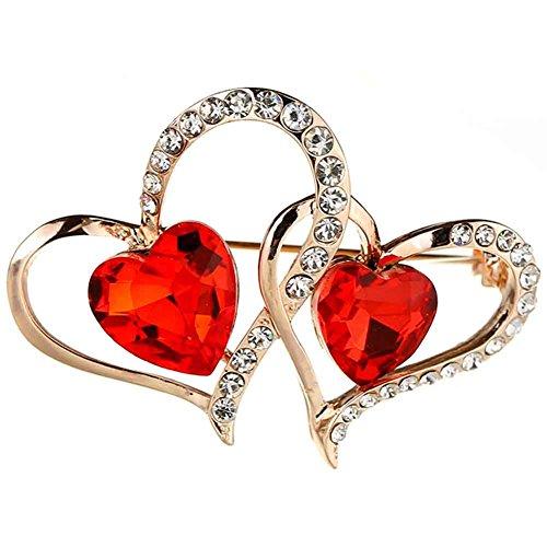 s Crystal Rhinestone Valentines Brooch Lapel Pin (Red Rhinestone Heart Pin)