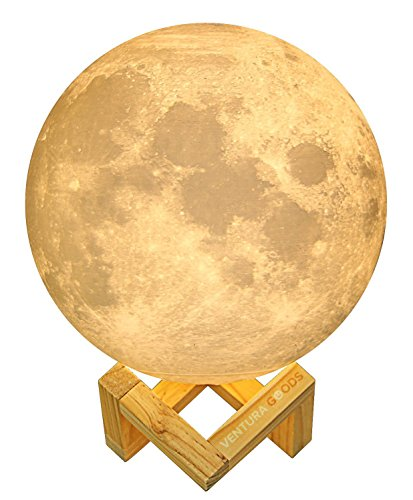 3D Printed Moon Lamp Home Decor Accent Light by VENTURA GOODS - 5.7 inch diameter, Three Color Tones with Wooden Stand, USB Rechargeable, Touch Control, Perfect Desk Lamp and Baby Nursery Night (Accents Single Control)