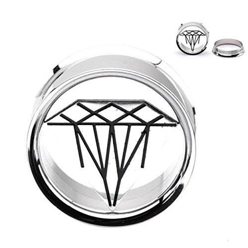 Surgical Stainless Steel Ear Plugs Gauges Screw Back Ear Plugs Ear Tunnels Ear Gauge With Diamond Design (8 MM)
