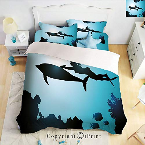 Homenon Bedding 4 Piece Sheet Set,deep Pocket Fitted Sheet,Flat Sheet,2 Pillow Cases,Scuba Diver Girl Swimming with Dolphin Silhouette in Sea Fish Reefs Image,Pale Blue Black,Twin Size