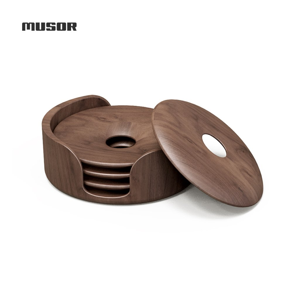 Musor Wooden Coasters Set of 4 with Holder, Walnut Wood Coasters for your Drinks, Beverages & Hot tea/Coffee, 3.5 inches in diameter