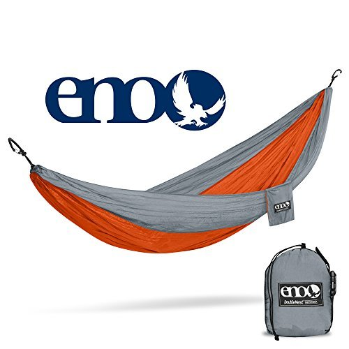 Eagles Nest Outfitters ENO DoubleNest Hammock, Portable Hammock for Two, Orange/Grey