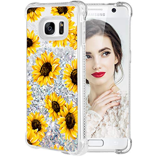 Caka Galaxy S7 Case, Galaxy S7 Floral Glitter Case Flower Pattern Series Luxury Fashion Bling Flowing Liquid Floating Sparkle Glitter Girly Soft TPU Case for Samsung Galaxy S7 - (Sunflower)
