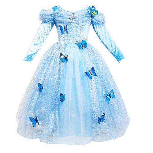 Quesera Girl's Princess Cinderella Dress Layered Off Shoulder Deluxe Dress Costume, Blue, Tagsize110=USsize4T -
