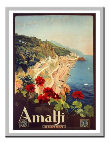Iposters Amalfi Mario Borgini 1927 Italian Travel Magnetic Memo Board Silver Framed - 41 X 31 Cms (approx 16 X 12 Inches)