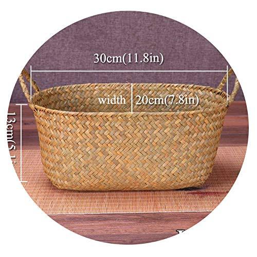 Wicker Weaving Storage Basket Fruit Dish Rattan Storage Box for Cosmetics Tea Picnic Basket Food Bread Organizer Handiwork,Brown 30x19x10 (Basket Crossword Clue Wicker)