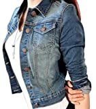 HMX Womens Classic Lapel Washed Cropped Denim Jacket 1 L