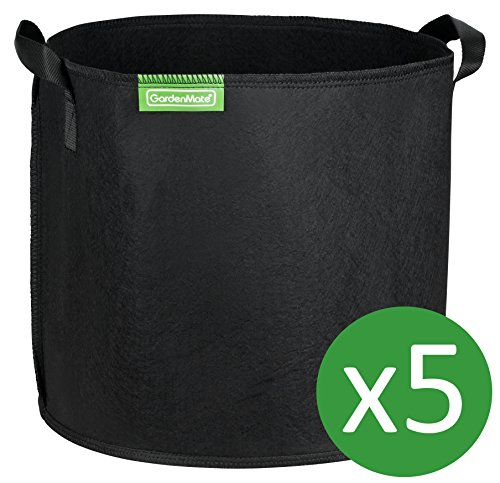 GardenMate 5-Pack 8 Gallons Planting Grow Bags Made Of Growth Friendly Felt BLACKLINE by GardenMate