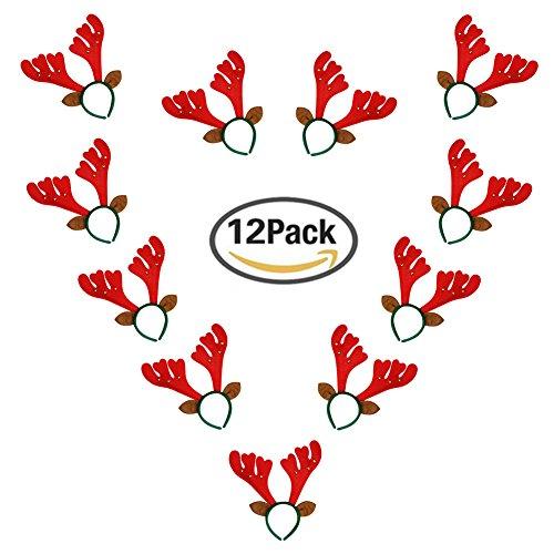 Fellibay Reindeer Antlers Headband Halloween Headband Costume Antlers for Christmas Easter Party Headbands (Red)