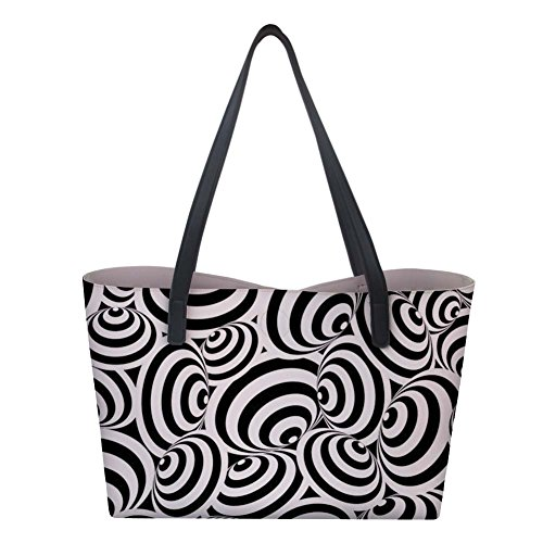 Showcool Handbags Tote Bag 3D Print Zebra texture PU leather Shoulder Bag with Removable Pouch