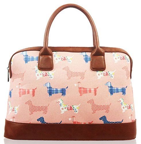Kukubird Dachshund Print Matte Canvas Satchel Bowling Bag with Kukubird Dust Bag - ()