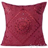 Eyes of India - 24'' Burgundy Red Mirror Embroidered Sofa Couch Pillow Cushion Cover Colorful Decorative Throw Bohemian Boho IndianCover Only